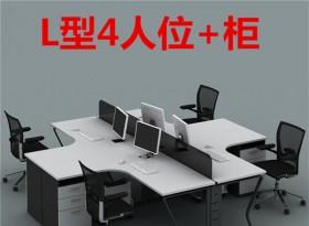 L型4人位簡約辦公桌